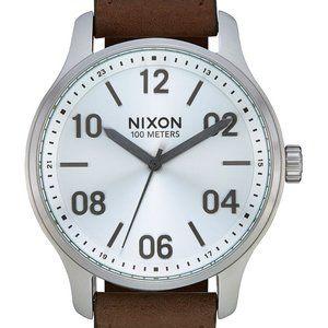 Nixon Mens Patrol Brown Leather Strap Watch